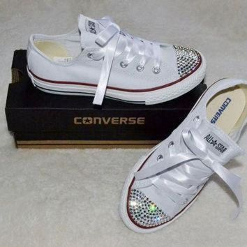 LMFUG7 Custom Crystal White Low Top All Star Converse Blinged Crystal Toes, Ribbon Laces Chil