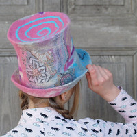 Unique felted high-hat, cylinder, top-hat , pastel goth fashion, wedding style. OOAK