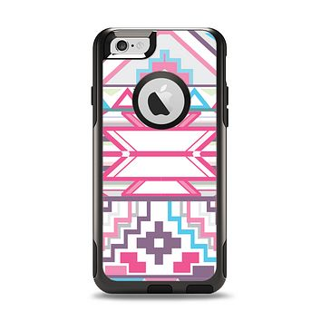 The Vector Pink & White Modern Aztec Pattern Apple iPhone 6 Otterbox Commuter Case Skin Set