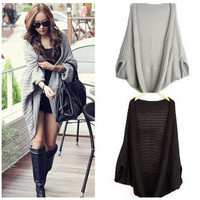 Lady Batwing Casual Loose Sweater Coat Knitting Long Cardigan Shawl Outwear = 1920149892