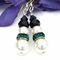 Christmas Snowman Earrings Handmade Swarovski Emerald Green Jewelry