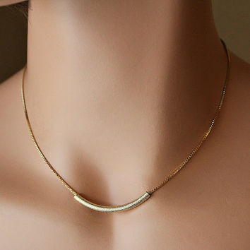 Gold Tube Chain Necklace, 14K Gold Filled, Curved Bar Pendant, Minimalist Jewelry, Curved Bar Necklace