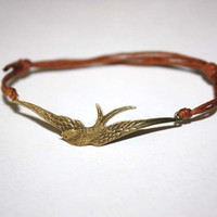 Bird in Flight Wish Bracelet - Bronze Swallow