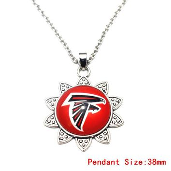 Snowflake Style Football Sports Team Atlanta Falcons Alloy Pendant Necklace Silver Chains Necklace For Fashion Necklace Jewelry