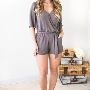 Perfect Poise Flutter Sleeve Grey Romper