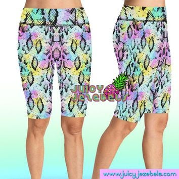 NEON SNAKE Rave Shorts Bike Shorts Cycling Shorts High Waisted Shorts Rave Clothing Music Festival Clothing Rave Outfit Rave Wear
