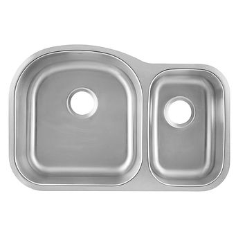 DAX-3121L / DAX 70/30 DOUBLE BOWL UNDERMOUNT KITCHEN SINK, 18 GAUGE STAINLESS STEEL, BRUSHED FINISH