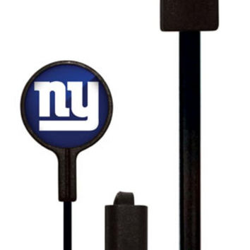 Mizco NFL New York Giants Big Logo black cord earbuds