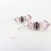 Swarovski Crystal Earrings - Light Purple Crystal Rhinestone Earrings - Swarovski Elements Purple Crystal Earrings - Elegant Summer Jewelry