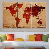 Canvas Print Wooden Background WORLD MAP Canvas Print - 3 Panel Canvas Art Print - Ready to Hang - Retro World Map