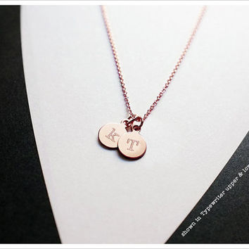 Double Initial Pendant Necklace - 14k Rose Gold Filled - Personalized Necklace - Gift For Her - Simple Everyday Jewelry LITTIONARY