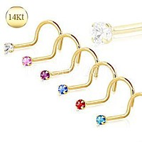 14Kt Yellow Gold Screw Nose Ring with Prong Setting Gem