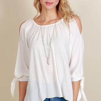 Playful Romance Tie Blouse White