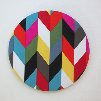 Computer Mouse Pad mousepad / Mat - Round or rectangle - ziggy french bull chevron herringbone - cubicle decor office desk gift