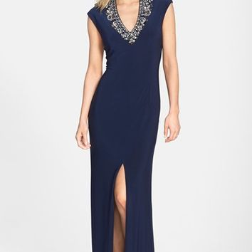 Women's Vince Camuto Embellished V-Neck Gown,