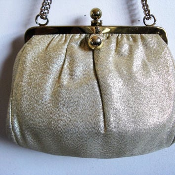 Vintage 1960s Gold Lame Clutch Holiday Party Gold Chain Purse