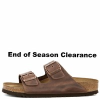 Birkenstock for Women&Men : Narrow Arizona Waxy Leather Soft Footbed Habana Sandals