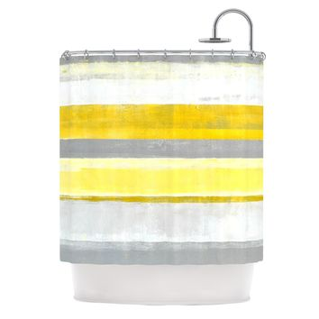 "CarolLynn Tice ""Lemon"" Yellow Gray Shower Curtain - Outlet Item"