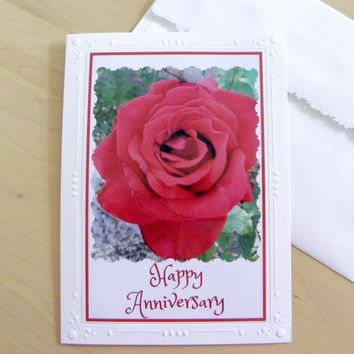 ANNIVERSARY GREETING CARD with a Red Rose ships free by PonsArt $5.50