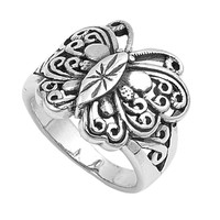 925 Sterling Silver Butterfly 19MM Ring