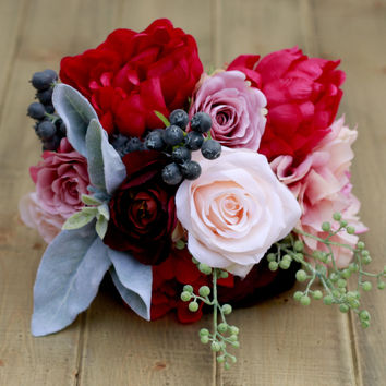 Silk Fuchsia Blush and Plum Burgundy with Berries Dahlia Roses and Peonies- Wedding Bouquet