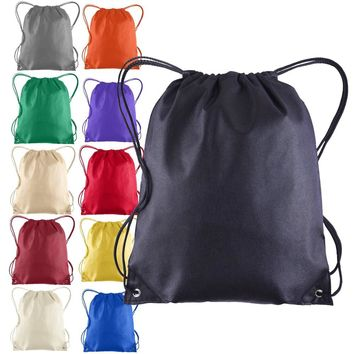 50 PACK - Economical Non Woven Well Made Drawstring Backpack Bags Bulk