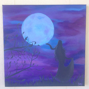 So She Danced With The Moon 12x12 abstract acrylic energy art FREE shipping new age feminine divine gypsy hippy bohian
