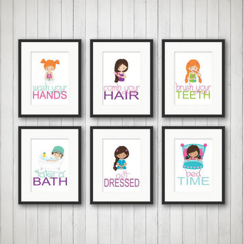 Girls Bathroom, Girls Bathroom Decor, Girls Bathroom Art, Bathroom Rules, Bathroom Art Prints, Girls Art, Pick 1, 2, 3, 4, 5 or all 6 Prints