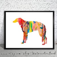 Borzoi Watercolor Print, Archival Fine Art Print, Children's Wall, Art Home Decor, dog watercolor, watercolor painting, animal art