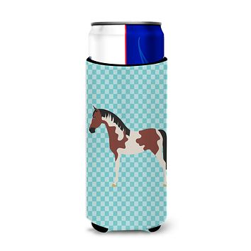 Pinto Horse Blue Check Michelob Ultra Hugger for slim cans