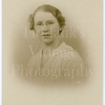 Vintage Young Pretty Woman Photo RPPC, Oval Glasses Spectacles , Studio Vignette Portrait - Real Photo Postcard