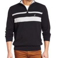 Nautica Men's Chest Stripe Zip Mock Neck Sweater, True Black, X-Large