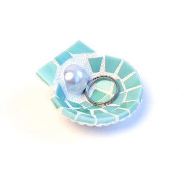 Small Seashell Ring Holder Dish Made from Sea Green Stained Glass Mosaic Tiles