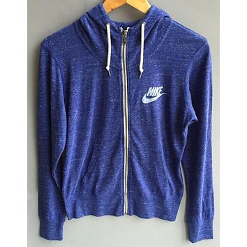 nike leisure women hooded sweatshirt jacket blue