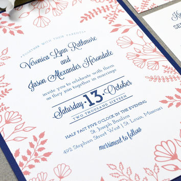 Navy And Coral Wedding Invitation Suite, Floral Wedding Invite Set, Rustic Wedding  Invitations,