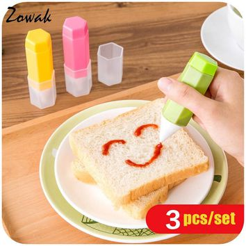 3pcs/set DIY Jam Cake Mold Cream Cup Chocolate Food Decorating Pen Biscuit  Cookie Pens Writing Sushi Rice Ball Paint Bake Zowak