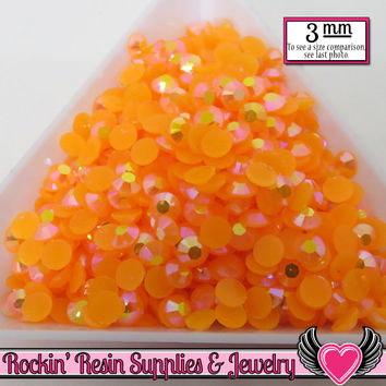 300 pcs 3mm AB Jelly TANGERINE ORANGE Candy Rhinestones