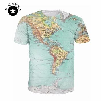 2018 new World Map 3D funny t Shirt printed Hipsters retro globe image of the Americas t shirt Short Sleeve tees Women Men tops