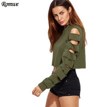 Green Pullovers For Women Autumn Tops Army Green Ladder Cut Out Long Sleeve Pullover Sweatshirt