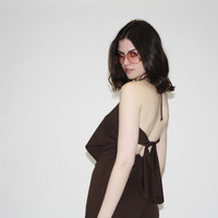 Vintage 1970s Brown Backless Halter Jumpsuit with Bellbottoms – Vanguard Vintage Clothing