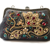 Evening handbag, suede handbag, black with embroidered with Swarovski crystals, spun gold Evening bag clutch  clasp bag