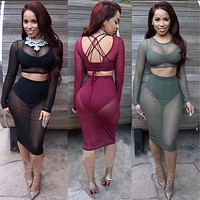 OHCOS Sexy Rompers for Women Two Pieces Outfits Sleeveless Bodycon Body Suit Long Jumpsuit 2016 Fall Fashion Clothes