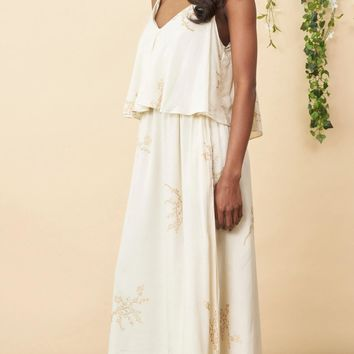 Cherry Blossom Tiered Maxi Dress in Cream and Gold