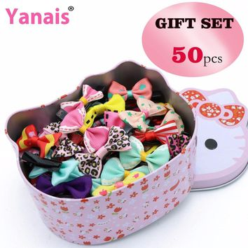 50pc In Hello Kitty Box Bow Knot Hair Clip Barrette Hairpins Accessories For Girls Ribbon Hair Bow Ornaments Hairgrip