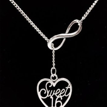Infinity Sweet 16 Sixteen Heart Daughter Birthday Gift Lariat Necklace