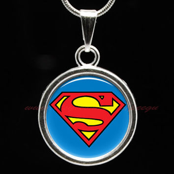 Superman Necklace, Cute Charm Necklace, Super Hero Jewelry,Comic Book Heros