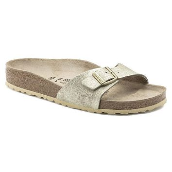 Best Online Sale Birkenstock Madrid Suede Leather Washed Metallic Cream Gold 1008696 S