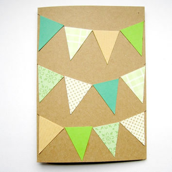 Green Bunting Card - birthday card, handmade card, hand cut card, made from recycled brown paper.