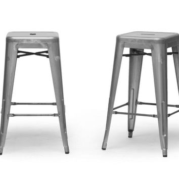 Baxton Studio French Industrial Modern Counter Stool in Gunmetal Set of 4