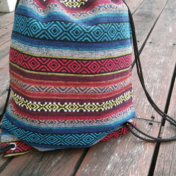 Tribal Ethnic Aztec Boho Backpack Nepali Sling Bags Woven Hippie Rucksack Drawstring Purse Bucket Summer Beach Tote For School Unisex Style
